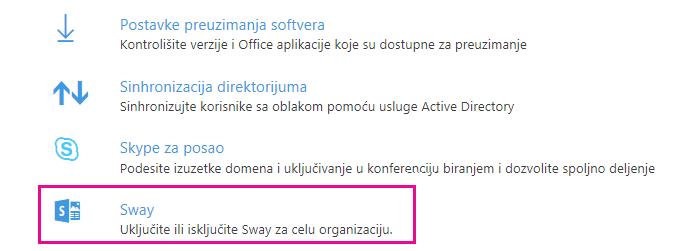 """Pomerite se nadole na ekranu """"Usluge i programski dodaci"""" i kliknite na """"Sway""""."""