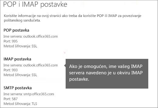Prikazuje vezu za postavke POP ili IMAP pristupa