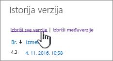 Verzija dijaloga sa Izbriši sve verzije istaknuta