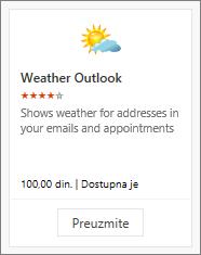 """Snimak ekrana Outlook programskog dodatka """"Vreme"""" dostupnog uz besplatnu probnu verziju ili uplatu."""