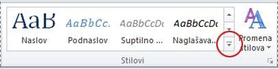 """Dugme """"Još stilova"""" u programu Word 2010"""