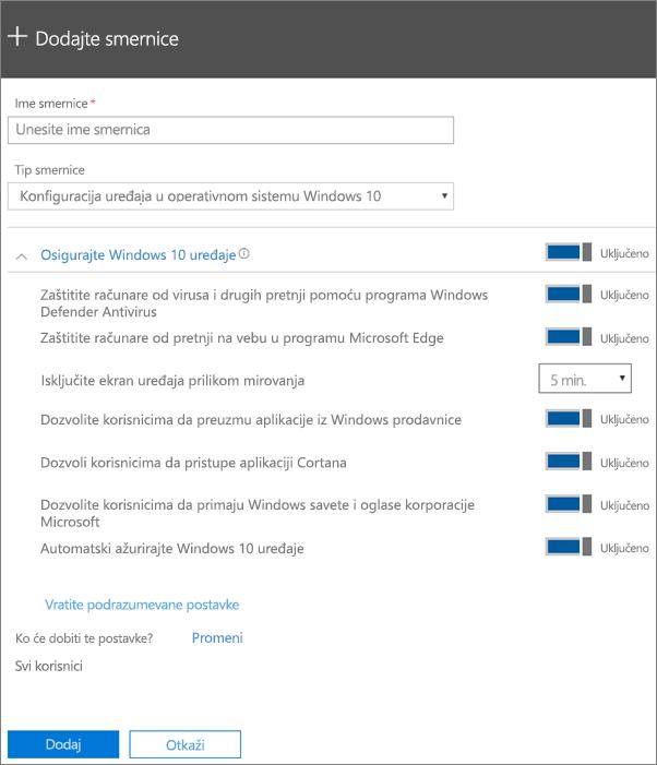 Okno za dodavanje smernica sa izabranom konfiguracijom uređaja u operativnom sistemu Windows 10