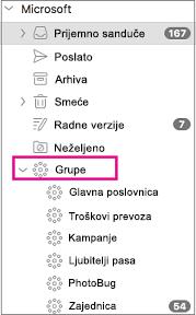Grupe na listi u oknu sa fasciklama programa Outlook 2016 za Mac