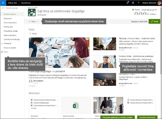 Matična stranica lokacije SharePoint Online tima