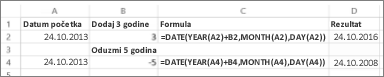 Primeri dodavanja i oduzimanja datuma