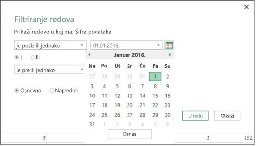 """Excel Power BI – podrška za birač datuma za ulazne vrednosti datuma u dijalozima """"Filtriranje redova"""" i """"Uslovne kolone"""""""