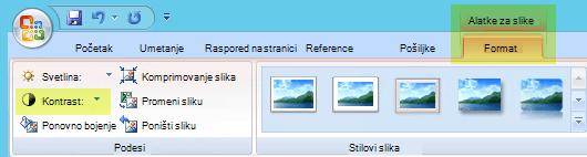 """Na kartici """"Oblikovanje alatki za slike"""" u grupi prilagodi izaberite kontrast"""