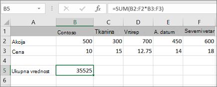 Primer formule niza koja izračunava jedan rezultat