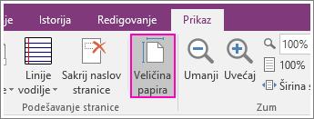 """Snimak ekrana dugmeta """"Veličina papira"""" u programu OneNote 2016."""