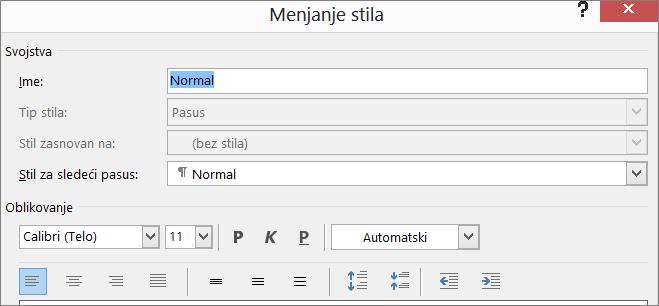 Izmena oblika stila u programu Word