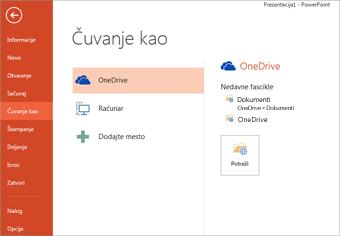 Čuvanje u ličnu uslugu OneDrive