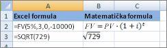 Excel formula i njihove slične matematičke formule