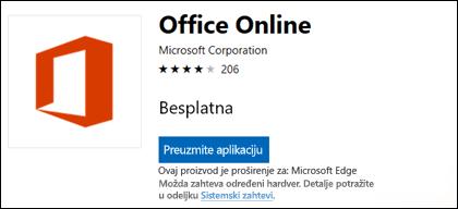 Na lokaciji Office Online lokala stranice u programu Microsoft Store
