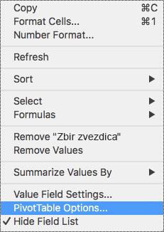 Opcije izvedene tabele u kontekstualnom meniju programa Excel za Mac.