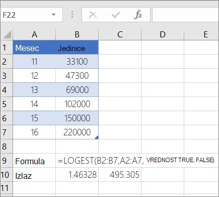 Primer 1--funkcija LOGEST