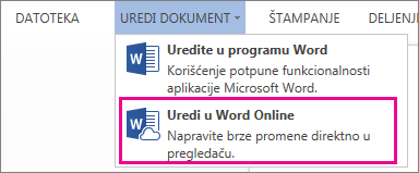 """Slika komande """"Uredi u programu Word Web App"""""""