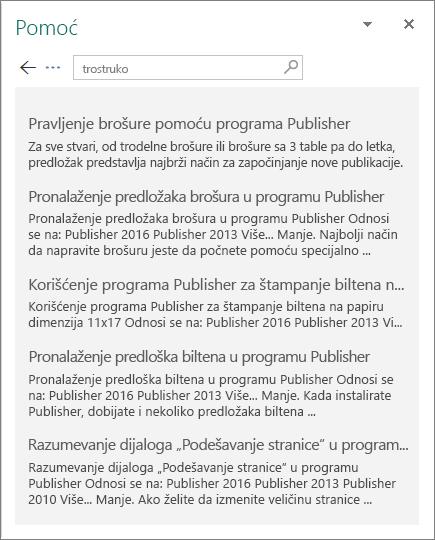 """Snimak ekrana okna """"Pomoć"""" u programu Publisher 2016 koje prikazuje rezultate za pretragu za stavku """"Trostruko""""."""