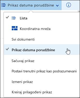 Sačuvani prikaz biblioteke prilagođene dokumenata u sistemu Office 365