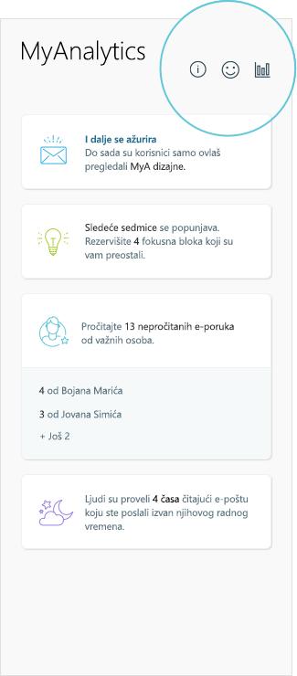 Snimak ekrana MyAnalytics rezultata