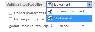 Konfigurisanje načina na koji Office komprimuje slike radi balansiranja veličine i kvaliteta datoteke