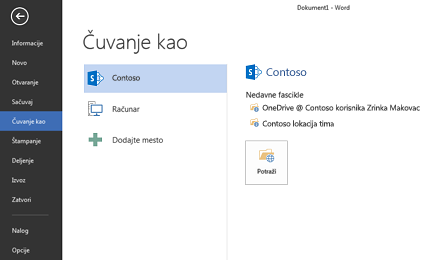 Ekran čuvanja koji prikazuje uslugu OneDrive for Business i SharePoint lokaciju dodate kao mesto