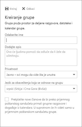 Pravljenje grupe u kalendaru za Outlook na vebu za preduzeća