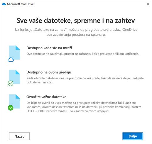 """Datoteke na ekranu """"Dobro došli u OneDrive"""""""