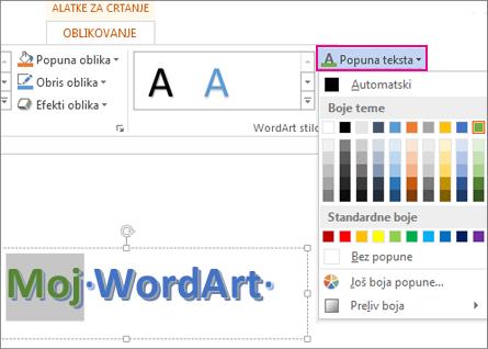 """Galerija """"Boja popune teksta"""" na kartici """"Format alatki za crtanje"""""""