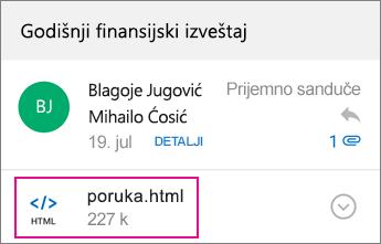 OME prikazivač sa programom Outlook za Android 1