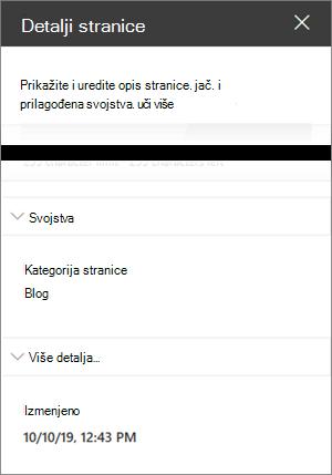 Okno sa detaljima stranice sa kategorijom stranice bloga