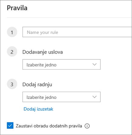 Kreiranje novog pravila u usluzi Outlook na vebu