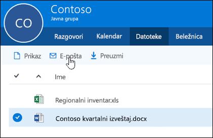 Izaberite datoteku da biste omogućili dugmad za prikaz, slanje e-poštom ili preuzimanje.