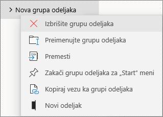 Brisanje grupa odeljaka u aplikaciji OneNote za Windows 10