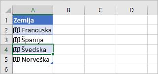 Ćelija povezanog zapisa izabrana u tabeli