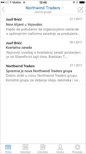 Prikaz razgovora u aplikaciji Outlook za mobilne uređaje