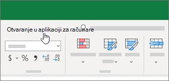 Otvaranje u aplikaciji za računare na vrhu Excel radne sveske