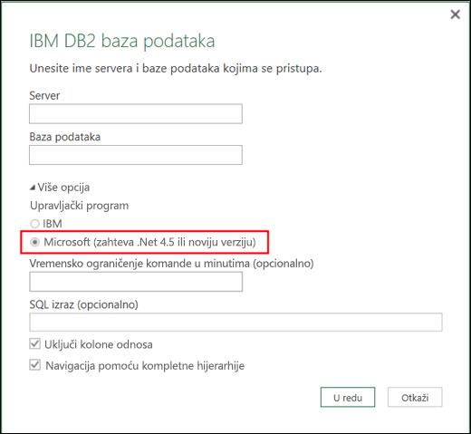 Excel Power BI – dijalog konektora za IBM DB2 bazu podataka