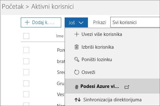 """Meni """"Više"""" na stranici """"Aktivni korisnici"""" sa izabranom stavkom """"Podešavanje usluge Azure Multi-Factor Authentication""""."""