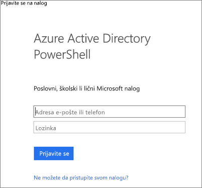 Unesite administratorske akreditive za Azure Active Directory