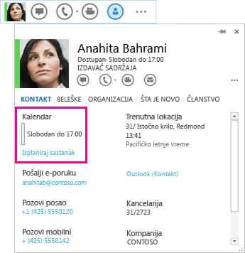 """Snimak ekrana menija """"Brzi Lync"""" kontakta i kontakt kartice sa markiranim kalendarom i planiranjem sastanka"""