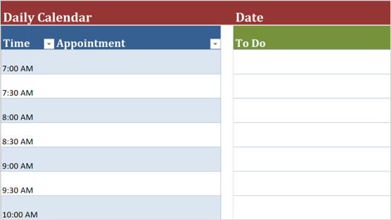Slika predloška dnevnog kalendara
