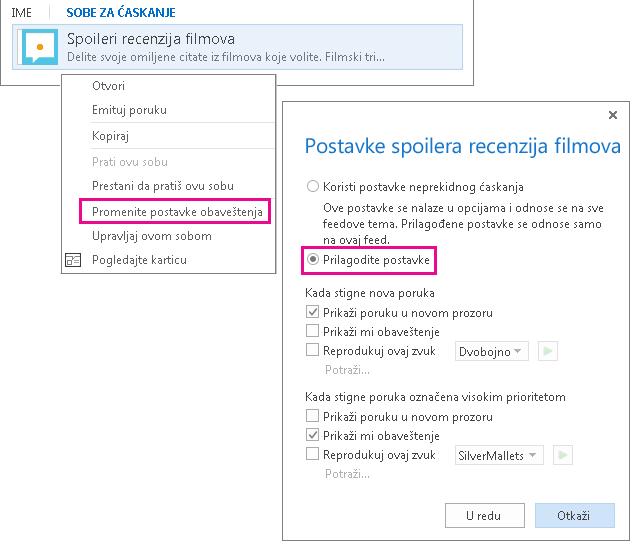Snimak ekrana izbora menija i prozora za prilagođavanje obaveštenja