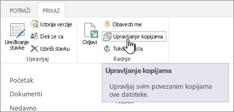 Upravljanje kopije na traci izvora