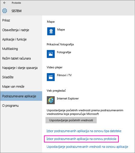 """Snimak ekrana postavke """"Postavljanje podrazumevanih vrednosti po aplikacijama"""" u operativnom sistemu Windows 10."""