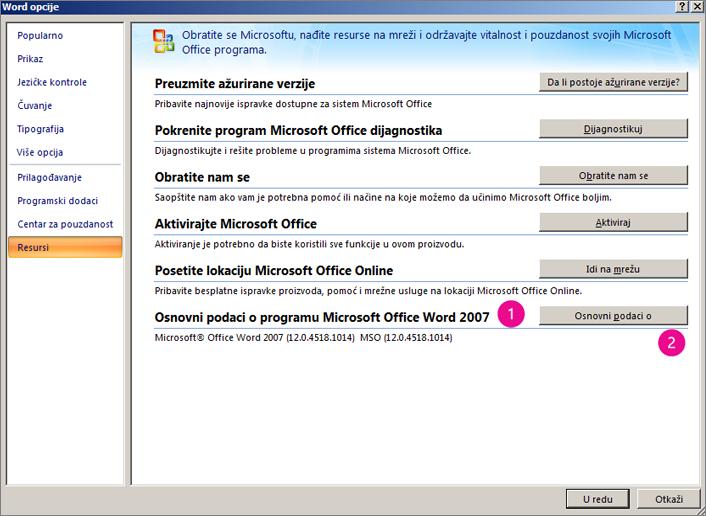 """Prozor """"Resursi"""" u okviru stavke """"Word opcije"""" u programu Word 2007"""
