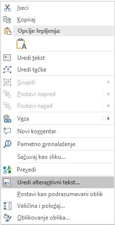 PowerPoint Win32 uređivanje alternativnog teksta za oblike