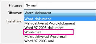 Spara dokument som en mall