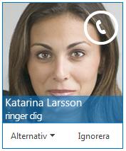 Skärmbild av avisering för inkommande samtal som låter dig veta att någon ringer dig