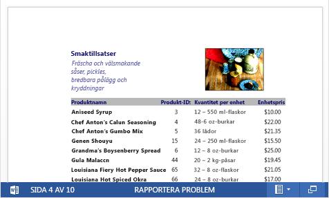 En inbäddad PDF-fil av en produktkatalog visas i Word Online
