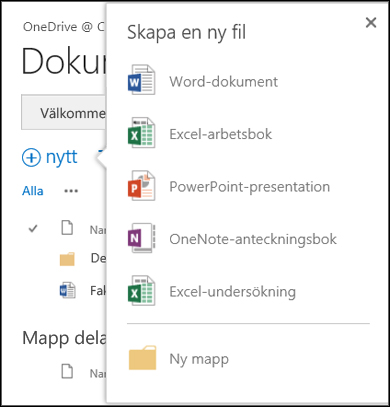 Office Online-alternativ som du kan använda med knappen Ny i OneDrive för företag